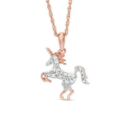 1 8 Ct  T W  Diamond Unicorn Pendant In Sterling Silver With 14k