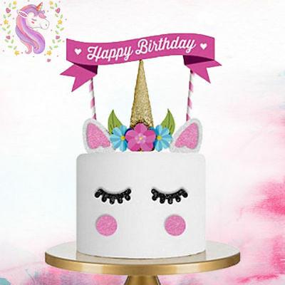 1 Set Unicorn Glitter Cake Topper Happy Birthday Candle Party