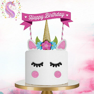 1 Set Unicorn Glitter Cake Topper Happy Birthday Candle Party