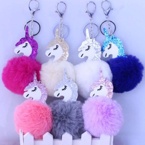 1pcs Unicorn Party Cute Metal Unicorn Keychain Plush Toy Pendant