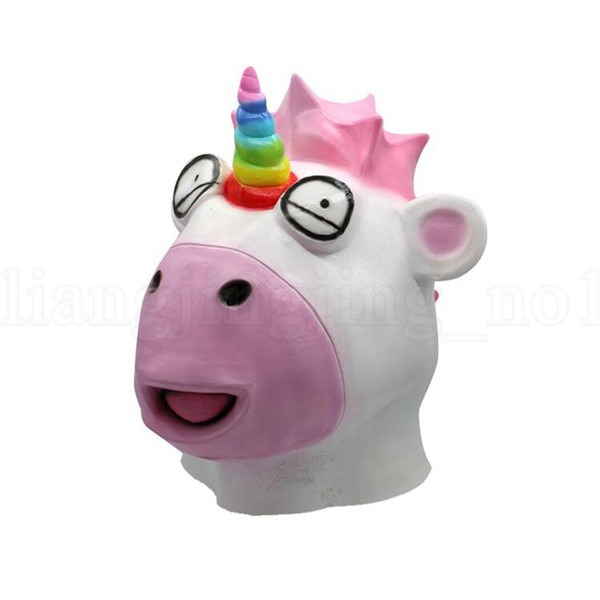 2018 Unicorn Mask Halloween Horror Latex Cartoon Full Face Animal