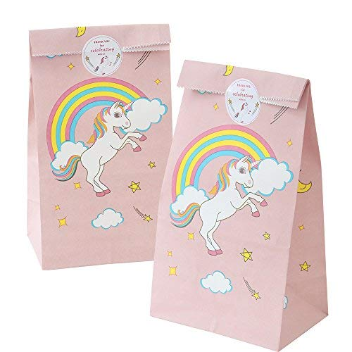 24pcs Unicorn Paper Bags + Thank You Stickers For Kids Birthday