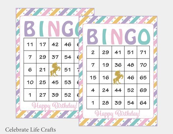 30 Unicorn Birthday Bingo Cards