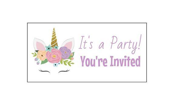 40 Unicorn You're Invited Stickers, Envelope Seals, Invite