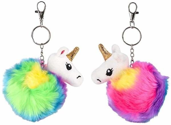 Amazon Com  3 25  Unicorn Furry Pom Pom Keychain (set Of 2)  Clothing