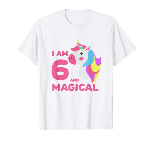Amazon Com  6th Birthday Shirt Girls Unicorn Gift Age 6 Year Old