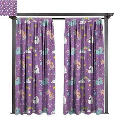 Amazon Com   Bybyhome Porch Curtains Magical Unicorn And Rainbows