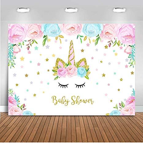 Amazon Com   Mehofoto Floral Unicorn Baby Shower Backdrop Baby