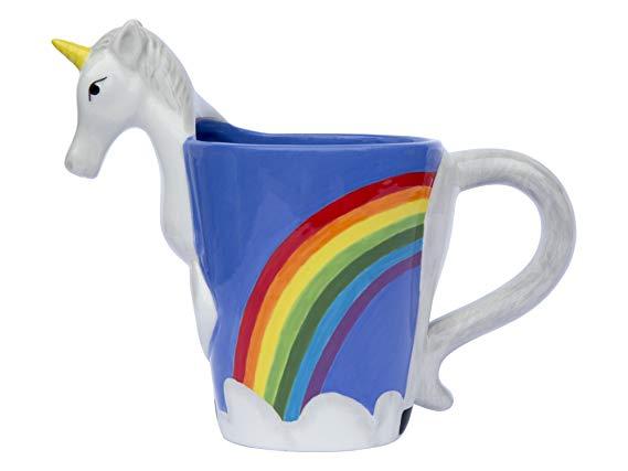 Amazon Com  Ceramic Unicorn Coffee Mug W Rainbow By Comfify