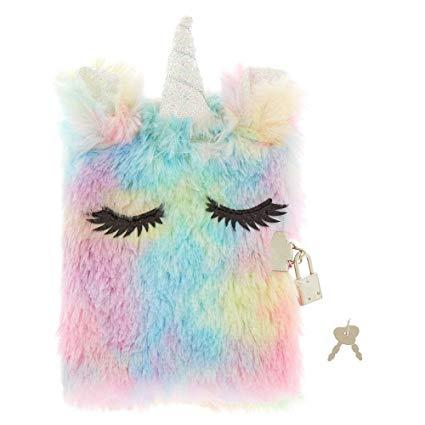 Amazon Com  Claire's Girl's Pastel Rainbow Unicorn Lock Plush