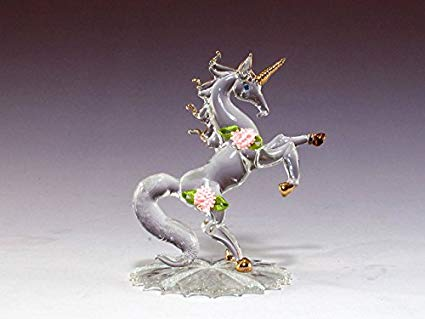 Amazon Com  Dar Giftware Blown Glass Unicorn With Satin Roses