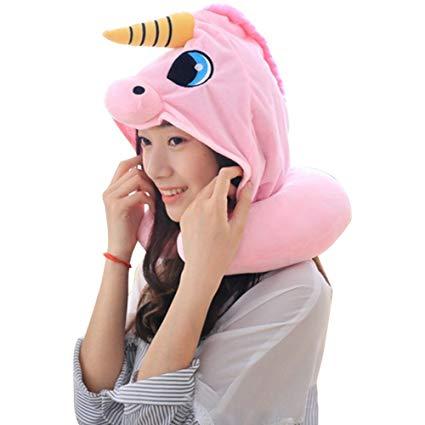 Amazon Com  Dpist Unicorn Hooded Animal Travel Neck Pillow