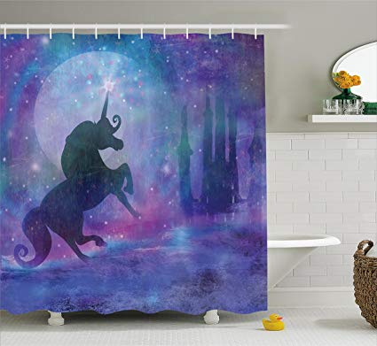 Amazon Com  Fantasy Shower Curtain By Ambesonne, Magical Unicorn