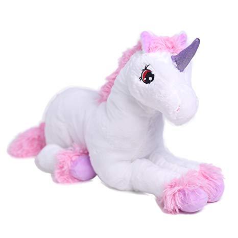 Amazon Com  Hollyhome Unicorn Pink White Plush Animal For Girls