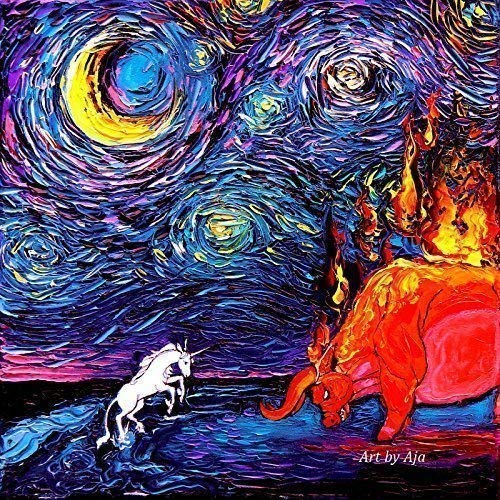 Amazon Com  Last Unicorn Art Fantasy Artwork Starry Night Van Gogh