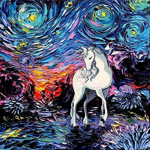 Amazon Com  Last Unicorn Wall Art Print Fantasy Starry Night