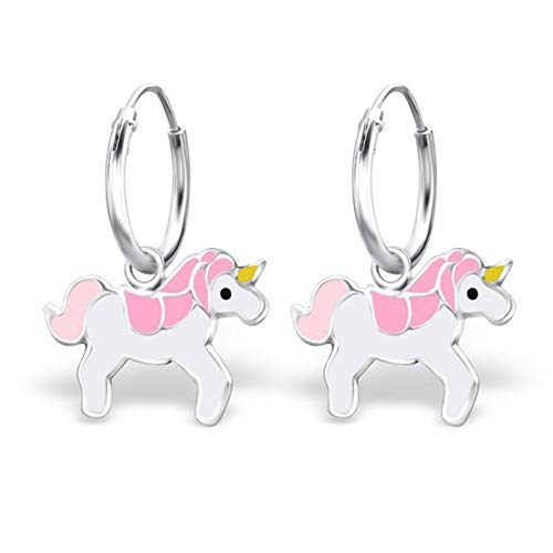Amazon Com  Pink Unicorn Hoop Earrings Kids Girls Childrens Enamel