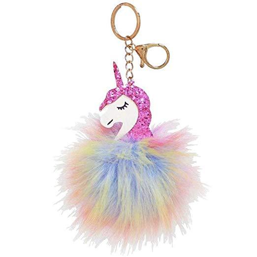 Amazon Com  Rainbow Unicorn Pom Pom Keychain
