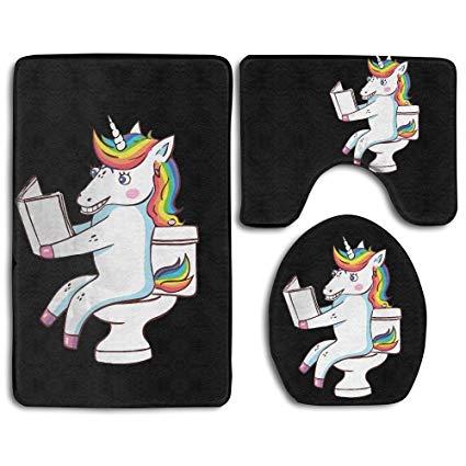 Amazon Com  Toilet Rug Sets Unicorn Toilet Reads Books 3 Piece Non