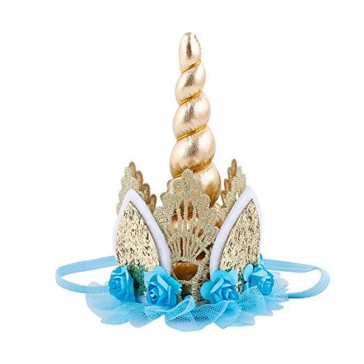 Amazon Com  Unicorn Birthday Flower Lace Crown Headband With Gold
