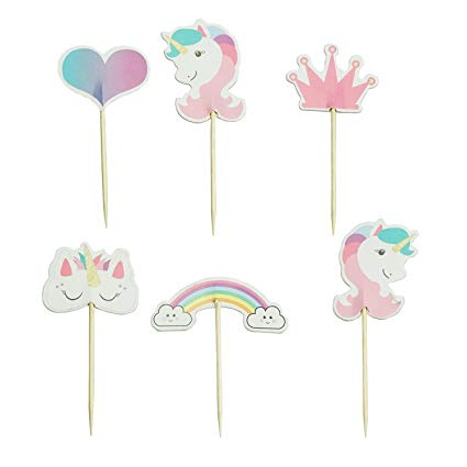 Amazon Com  Unicorn Cupcake Toppers Rainbow Heart Crown Cake