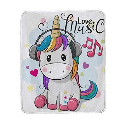 Amazon Com  Unicorn Love Music Throw Blanket For Bed Couch Chair