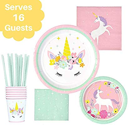 Amazon Com  Unicorn Party Set – Serves 16 – Unicorn Paper Plates
