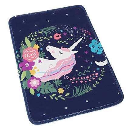 Amazon Com  Uphome Blue Unicorn Bathroom Rug, Non Slip Coral