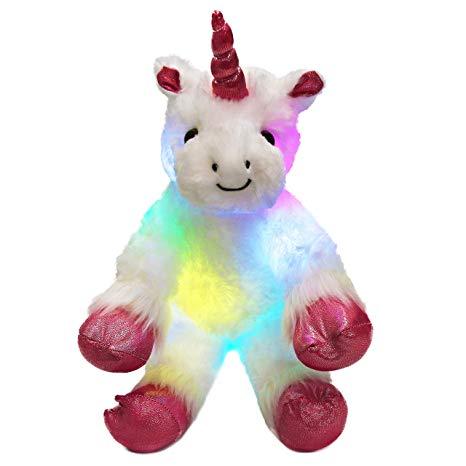 Amazon Com  Wewill Led Colorful Unicorn Stuffed Animal Light Up