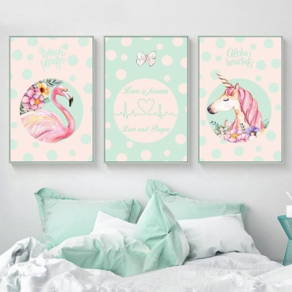 Asapfor Flamingo Canvas Painting Unicorn Wall Art Pictures For