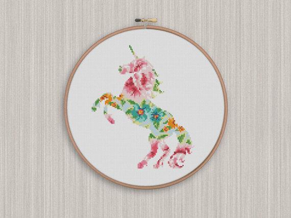 Bogo Free! Unicorn Cross Stitch Pattern, Floral Unicorn Flowers