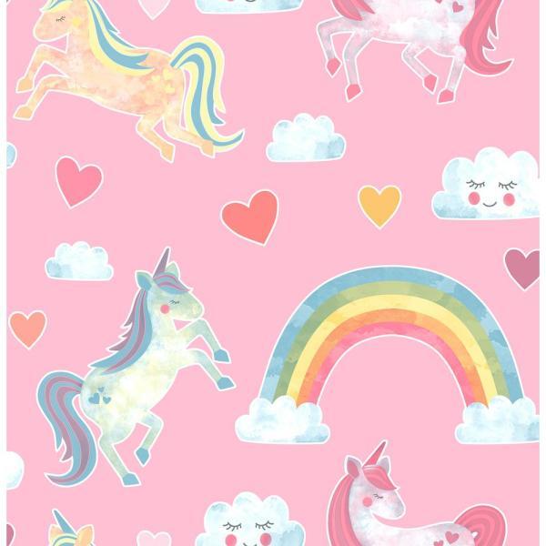 Brewster 56 4 Sq  Ft  Elora Pink Unicorn Wonderland Wallpaper