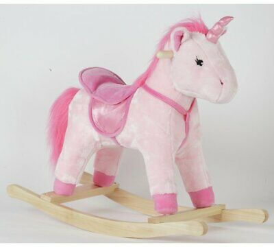 Chad Valley Unicorn Rocking Horse Soft Pink Fabric And Pretty Eyes