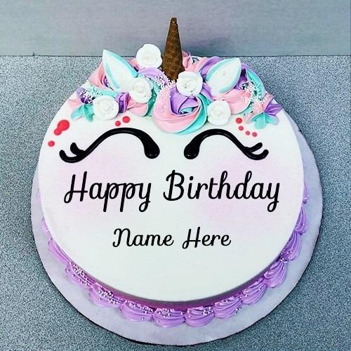 Chocolate Buttercream Unicorn Cake With Name