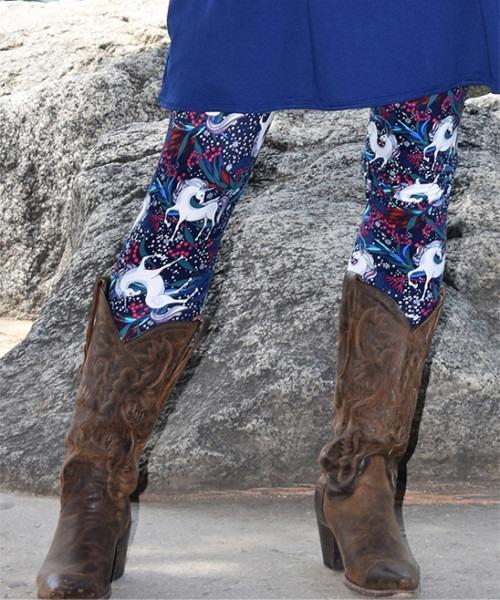 Copycat Couture Blue & White Unicorn Leggings