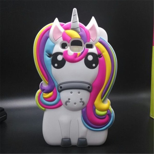 Cute Cartoon 3d Colorful Unicorn Soft Silicone Back Shell For