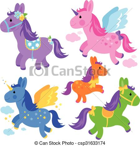 Cute Unicorns And Ponies Collection  Cute Colorful Ponies And