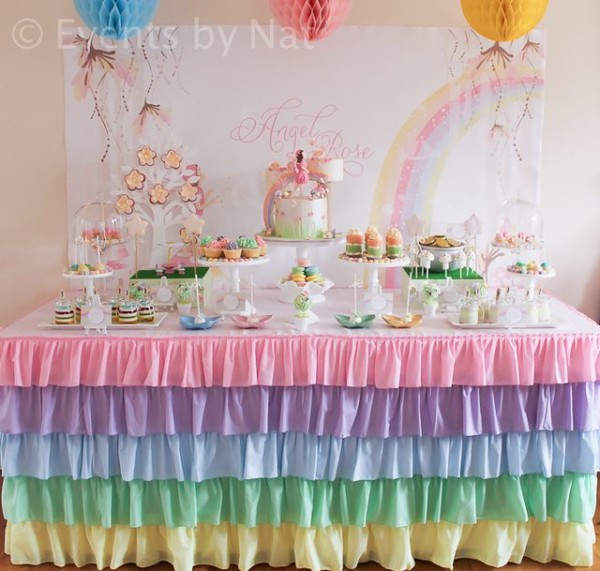 Dessert Table At A Pastel Rainbow Fairy Party  Pastel