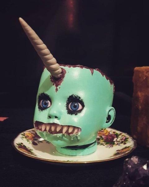 Disturbing Unicorn Doll Head Planter