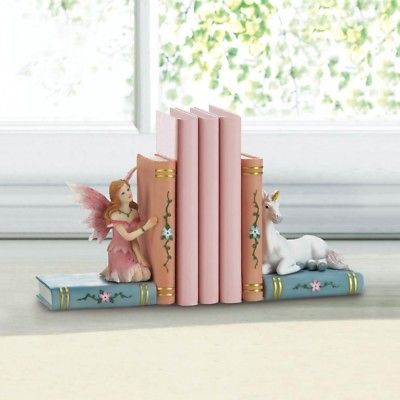 Fairy In Pink Dress & White Unicorn Enchanted Bookends