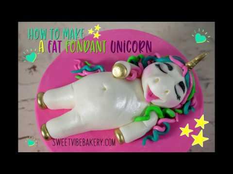 Fat Unicorn Fondant Cake Topper