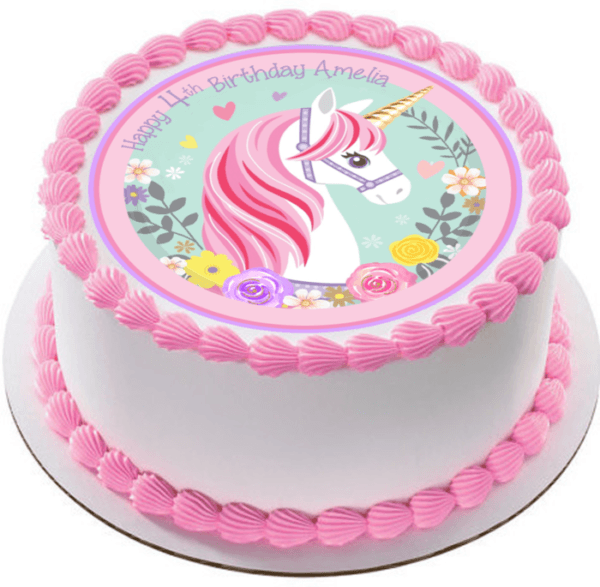 Flower Unicorn Edible Icing Personalized Circle Cake Topper  160