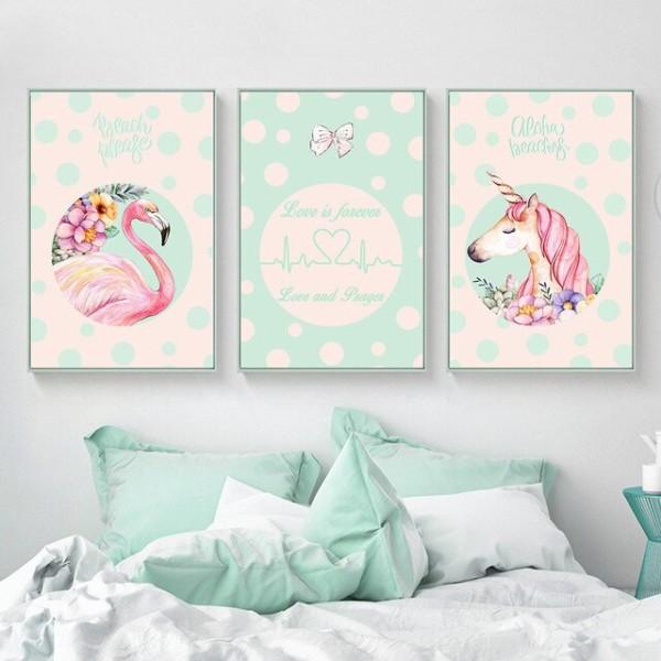 Girls Gift Unicorn Flamingo Canvas Posters And Prints Minimalist
