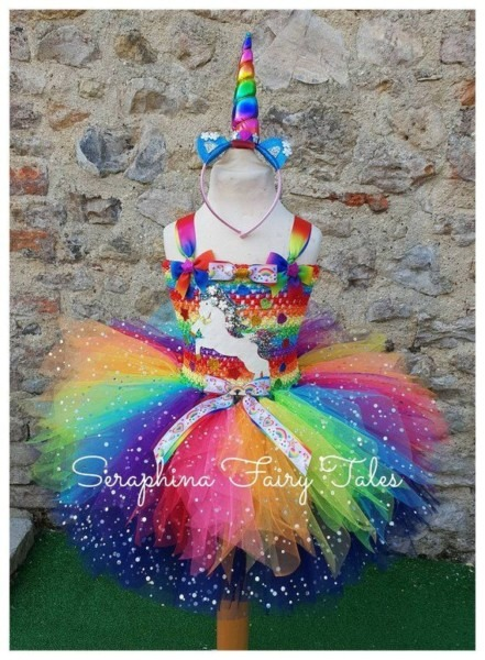 Girls Rainbow Unicorn Tutu Dress Costume  Lined Glitter