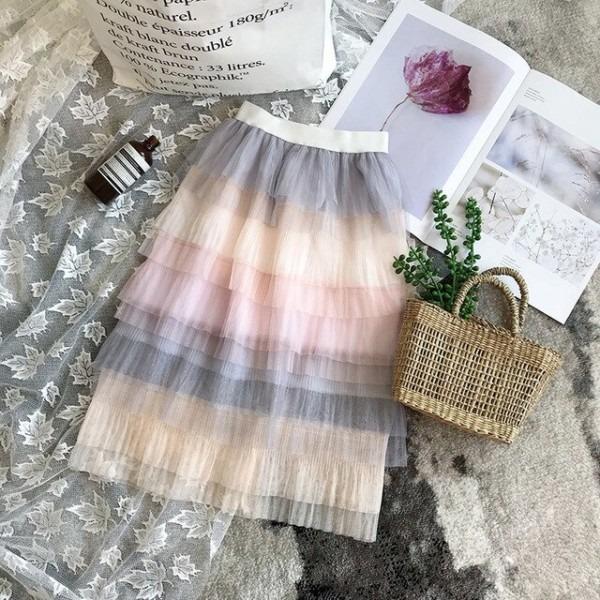 Girls Skirts Gradual Change Rainbow Unicorn Skirt 2018 Summer Long