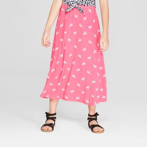 Girls' Unicorn Knit Maxi Skirt