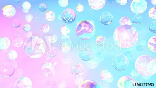 Holographic Bubbles  3d Illustration  Abstract Background  Fairy