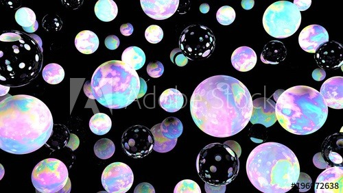 Holographic Bubbles On Black  3d Illustration  Night Sky  Glass