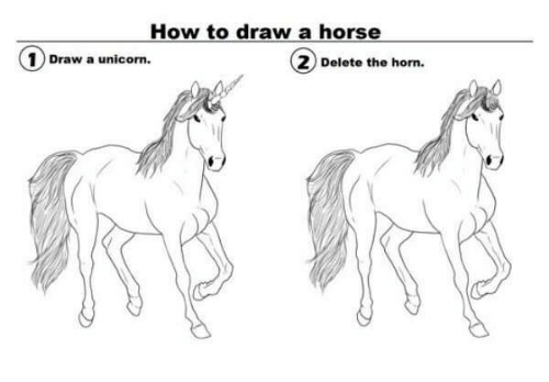 How To Draw A Horse ①draw A Unicorn 1 Draw A Unicorn 2 Delete The
