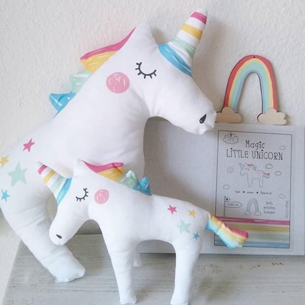 Ins Plush Rainbow Sleepy Unicorn Pillow Toy Baby Comforter Soft